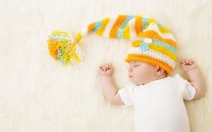 Baby Sleeping in Hat New Born Kid Sleep in Bad Newborn One Month Old